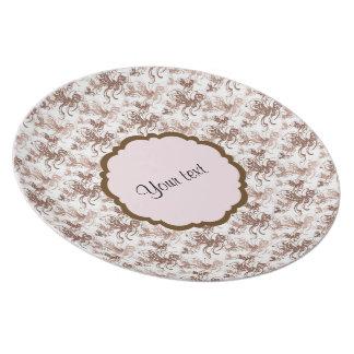 Beautiful Brown Swirly Butterflies Plate
