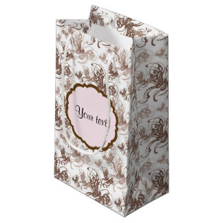 Beautiful Brown Swirly Butterflies Small Gift Bag