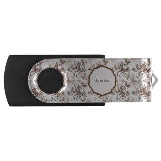 Beautiful Brown Swirly Butterflies Swivel USB 3.0 Flash Drive