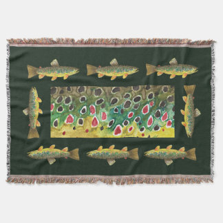Beautiful Brown Trout Fishermans Throw Blanket