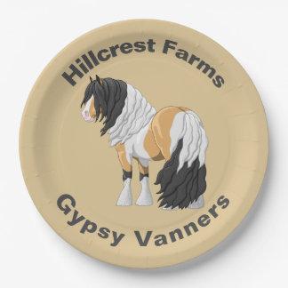 Beautiful Buckskin Pinto Gypsy Vanner Draft Horse Paper Plate