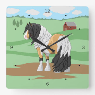 Beautiful Buckskin Pinto Gypsy Vanner Draft Horse Square Wall Clock
