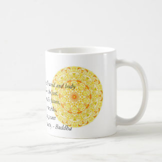 Beautiful Buddhist Quote with Vibrant Mandela Classic White Coffee Mug