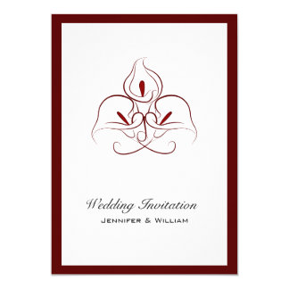 Beautiful Burgundy Calla Lilies Wedding Invitation