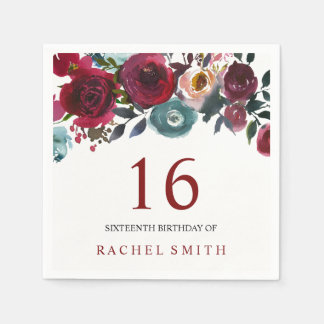Beautiful burgundy Floral 16th birthday sweet 16 Paper Napkins