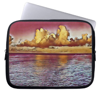 Beautiful Burgundy Rose Golden Ocean Sunrise Computer Sleeve