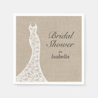 Beautiful Burlap Bridal Shower Napkin Disposable Napkin