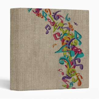 Beautiful burlap texture music notes sounds backgr 3 ring binders