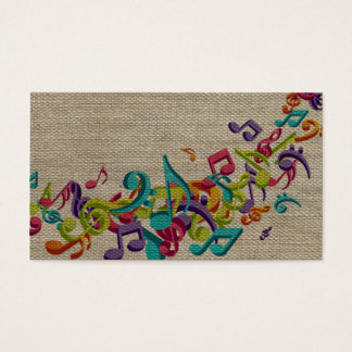 Beautiful burlap texture music notes sounds backgr business card