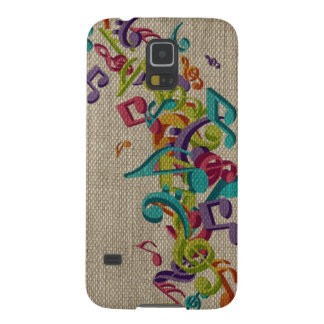 Beautiful burlap texture music notes sounds backgr galaxy s5 cover