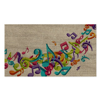 Beautiful burlap texture music notes sounds backgr pack of standard business cards
