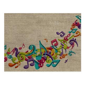 Beautiful burlap texture music notes sounds backgr postcard