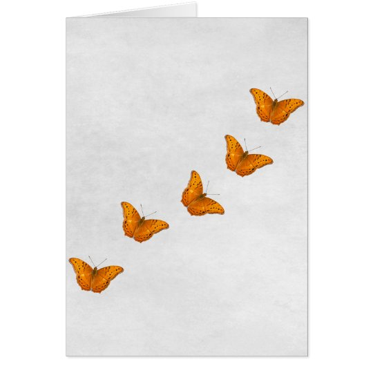 Beautiful butterflies on white  vertical card