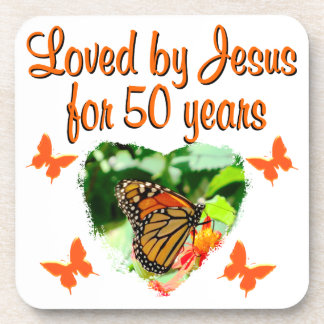 BEAUTIFUL BUTTERFLY 50TH BIRTHDAY DESIGN DRINK COASTER