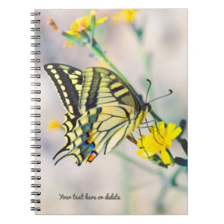 Beautiful Butterfly and Small Yellow Flowers Spiral Notebook
