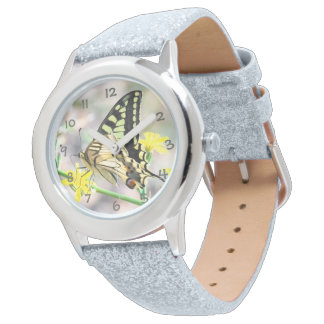 Beautiful Butterfly and Yellow Flowers Watch