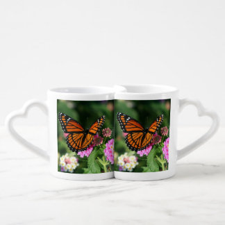 Beautiful Butterfly on Lantana Flower Coffee Mug Set