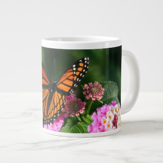 Beautiful Butterfly on Lantana Flower Large Coffee Mug