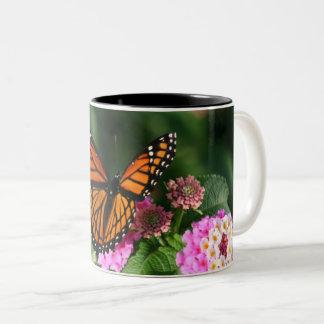 Beautiful Butterfly on Lantana Flower Two-Tone Coffee Mug