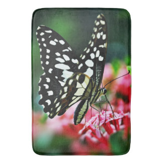 Beautiful Butterfly on Red Flower Bathroom Mat