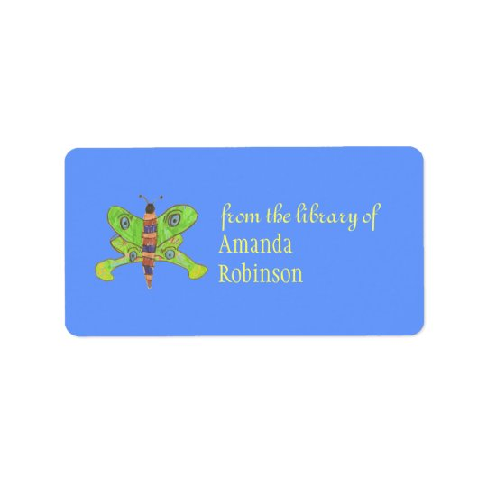 Beautiful butterfly personalized bookplate