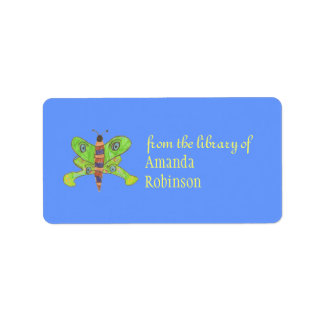 Beautiful butterfly personalized bookplate label