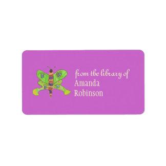Beautiful butterfly personalized bookplate, purple