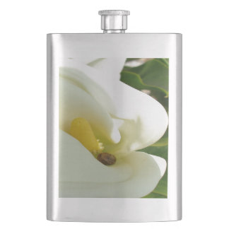 Beautiful Calla Flower On Green Natural Background Hip Flask