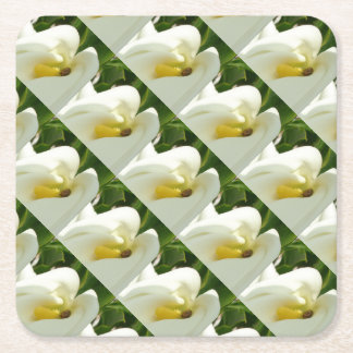Beautiful Calla Flower On Green Natural Background Square Paper Coaster