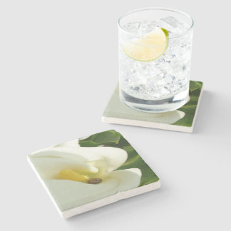 Beautiful Calla Flower On Green Natural Background Stone Coaster