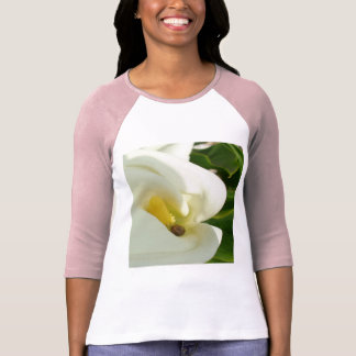 Beautiful Calla Flower On Green Natural Background T-Shirt