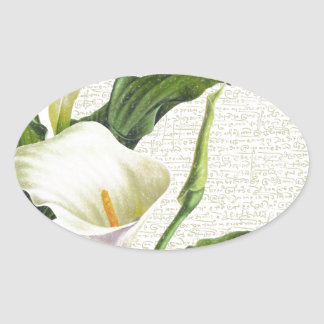 Beautiful Calla Lilies Oval Sticker