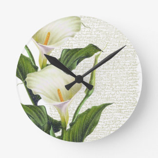 Beautiful Calla Lilies Round Clock