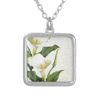 Beautiful Calla Lilies Silver Plated Necklace