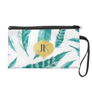 Beautiful Calming Mint Feathers Wristlet