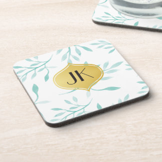 Beautiful Calming Mint Phoenix & Feathers Coaster