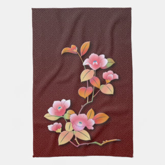 Beautiful camellia branch kitchen towel