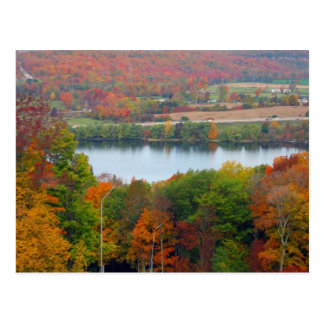 Beautiful Canadian Autumn Orange Trees Blue Lake Postcard