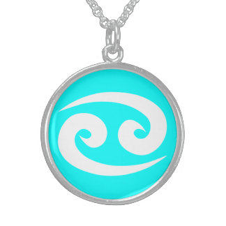 Beautiful Cancer Sterling Silver Cyan Necklace