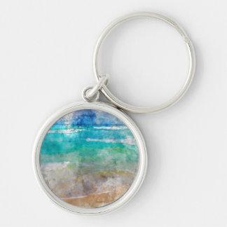 Beautiful Cancun Beach Silver-Colored Round Keychain