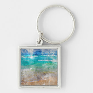 Beautiful Cancun Beach Silver-Colored Square Keychain