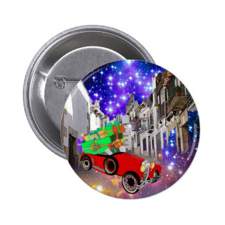 Beautiful car plenty of gifts under starry night 2 inch round button