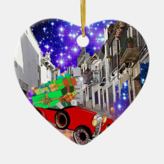 Beautiful car plenty of gifts under starry night ceramic heart ornament