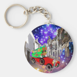 Beautiful car plenty of gifts under starry night keychain