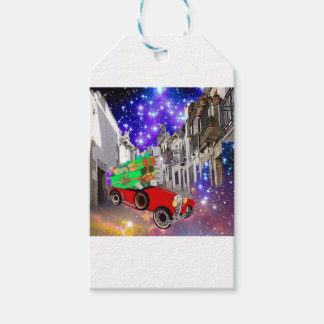 Beautiful car plenty of gifts under starry night pack of gift tags
