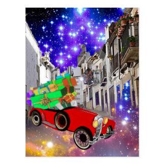 Beautiful car plenty of gifts under starry night postcard