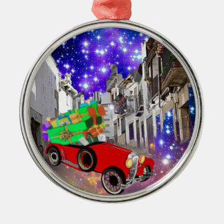Beautiful car plenty of gifts under starry night Silver-Colored round ornament