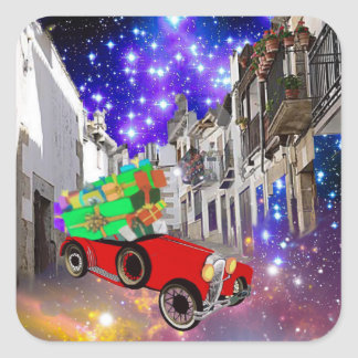 Beautiful car plenty of gifts under starry night square sticker