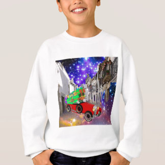 Beautiful car plenty of gifts under starry night sweatshirt