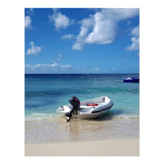 Beautiful Caribbean Beachscape Boat Photography Letterhead Template